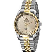 amanecer del reloj de manera de los hombres entre el reloj de plata genuina de oro de la moda escala del diamante tira de cuarzo (colores
