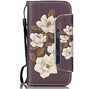 For iPhone 5 Case with Stand Case Full Body Case Flower Hard PU Leather iPhone SE/5s/5