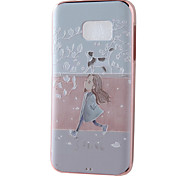 Spring Girl Mirror Surface Relief Frame TPU for Samsung S7/S14 Edge