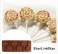 1pc 6 Holes Round Chocolate Lollipop Mold Lolly Pop Silicone mould Ice Cube Cookie Cupcake Molds(Random Color)