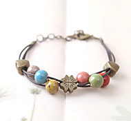 Ethnic Hand Knitting Multilayer Porcelain Beads Ceramics Bracelet