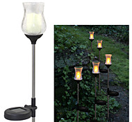 Solar Warm Yellow Crackle Glass Tulip Garden Decor Stake Lights