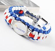 European Style Men'S Compass Flint Blue And White Woven Bracelet