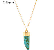 D Exceed Fashion Blue Stone Necklace,Natural Stone Pendant&Golden Chain Necklace For Women Party's Jewelry