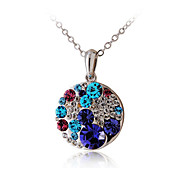 HKTC Valentine's Glittering Colourful Purple Crystal Round Pendant Necklace Platinum Plated CZ Diamond Jewelry