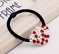 Red Crystal Pearl crown hollow alloy female hair ring