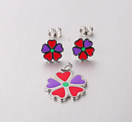 Europe and the United States are 316 red purple hearts Star stainless steel earrings set free Necklace