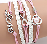 Multilayer Love Heart Weave Bracelet,White&Pink inspirational bracelets