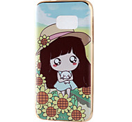 Lovely Girl Mirror Surface Relief Frame TPU for Samsung S7/S11 Edge