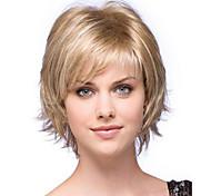 жен. Короткий Блондинка Естественные волны Искусственные волосы Машинное плетение Без шапочки-основыПарик из натуральных волос Парик для