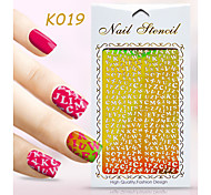 New Nail Art Hollow Stickers Love Heart Shape Star Flower Geometric Alphabet Design Nail Beauty K011-020