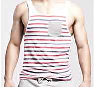 Striped Cotton Vest Vest Fitness
