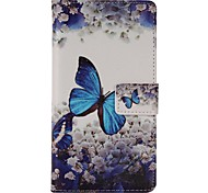 Blue Butterfly Painted PU Phone Case for Galaxy A3/A5/A7/A310/A510/A710