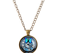 Lureme® Time Gem Series Vintage Butterfly and Clock Disc Pendant Charm Necklace for Women and Girl