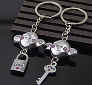 A Pair New Couple Love Monkey Keychain Lock And Key Chain Lover Romantic Creative Birthday Gift