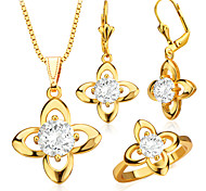 Trendy Jewelry Set Women Party Gift 18K Gold Plated Luxury AAA+zircon Crystal Necklace Earrings Ring Jewelry Sets S20054