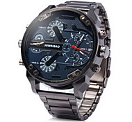 Men's Military Fashion Big Dial Dual Time Zones Steel Band Quartz Watch Cool Watch Unique Watch