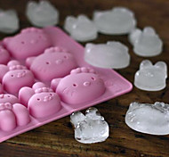 Cartoon Cat Ice Mould Silicone Ice Cubes Tray Pudding Jelly Mold (Random Color)
