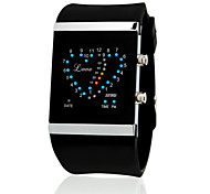 Herren Damen Unisex Modeuhr digital LED Silikon Band Heart Shape Schwarz Orange Rose Schwarz Orange Rot