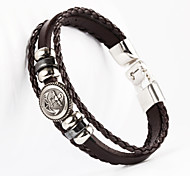 Anchor Button Shape PU Men's Bracelet