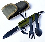 OEM Kunststoff / Edelstahl tenedor / cuchillo / abrelatas / Cuchara verde Einzeln traveling, camping, hunting and other outdoor activities