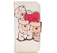 Love Bear Painted PU Phone Case for iphone5SE