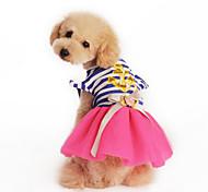 Sweety Naval Stripe Printing Lace Pet Dress