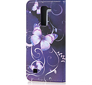 Purple Butterfly Magnetic PU Leather wallet Flip Stand Case cover for LG K7 LG M1 LG Tribute 5/LG K10 / M2 F670