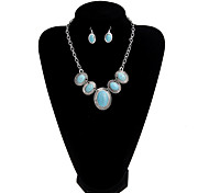 National Style Retro Turquoise Silver Horse Eye Drops Jewelry Set
