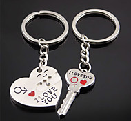 A Pair  I Love You Couple Key Chain Creative Heart Key Ring Couple Small Gifts