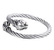 American Leopard Head Clasp Stainless Steel Cable Wire Cuff Bangle 1pc