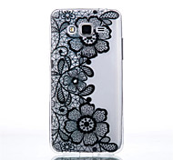 Flower Pattern Black Printing Transparent TPU Material Phone Case for Samsung Galaxy G360/G530