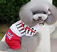 Perros Camiseta Blanco Ropa para Perro Verano / Primavera/Otoño Britsh Moda