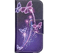 Patterned Leather Wallet Phone Case for iPod Touch 5/6 with Stand - Purple Butterfly