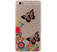 fondo transparente mariposa TPU caso suave para el Huawei Huawei P9 / Huawei p9 Lite / Huawei p8 Lite / y625