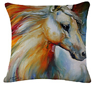 Painting Horse Pattern Linen Pillowcase Sofa Home Decor Cushion Cover (18*18inch)