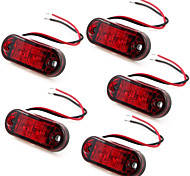 5 X Red 2 LED Side Marker Indicator Lights Truck Trailer 10~30V
