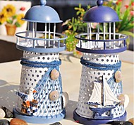The Mediterranean Lighthouse Candlestick Candleholder Candle Stand Light Holder Lantern Home Decoration(Random Color)