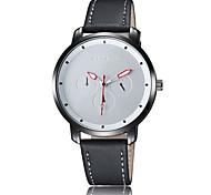 Unisex Modeuhr Quartz Wasserdicht Leder Band Armbanduhr Schwarz / Orange
