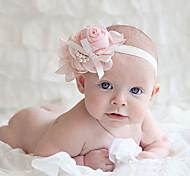 Bambini Chiffon Rose della catena della perla bowknot fascia elastica