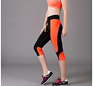 Pantalones de yoga Crop Transpirable / Capilaridad Cintura Media Alta elasticidad Ropa deportiva Negro Mujer Otros Yoga / Fitness
