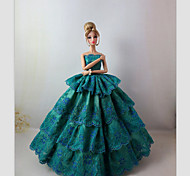 Party/Evening Dresses For Barbie Doll Green Dresses For Girl's Doll Toy