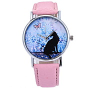 Women's Fashion Watch Quartz Leather Band Black Red Pink