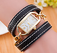 Women's European Style Fashion Gold Square Metal Chain Leather Bracelet Watch Cool Watches Unique Watches
