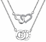 Europe And The United States The New Women Necklace Double Heart-shaped Necklace