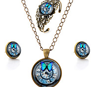 Lureme® Time Gem Series Vintage Butterfly and Clock Pendant Necklace Stud Earrings Hollow Flower Bangle Jewelry Sets