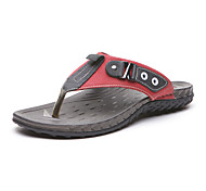 Aokang Men's Leather Slippers Black / Red