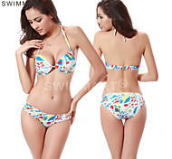 Cup Underwired Back Closured Fully Lined Bottom 2016 Fashion Allover Print Retro Push Up Bikini Swimsuit DM035