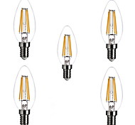 5 Stück ONDENN E14 4W 4 COB 400 lm Warmes Weiß C35 edison Vintage LED Glühlampen AC 220-240 V