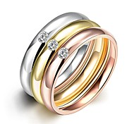 Simple Exquisite Unisex's  White Zircon Gold-Plated Titanium Steel Couple Rings(Golden,Rose Gold,Silver)(1Pc)